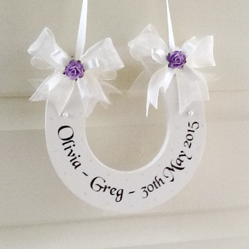 Personalised Wedding Horseshoe With Dark Lilac Roses
